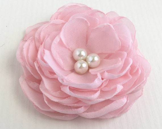 Light Pink Chiffon Peony Flower Hair Clip or Brooch Pin. Choose your size and button finish. Handmade.