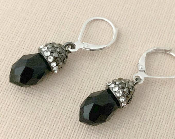 Black Gray Marcasite Style Rhinestone Earrings. Vintage Style.