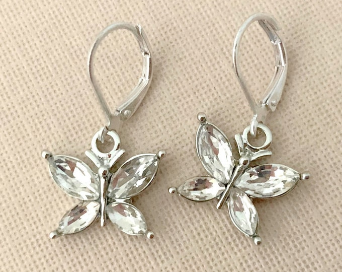 Butterfly Rhinestone Earrings. Platinum Color Metal.