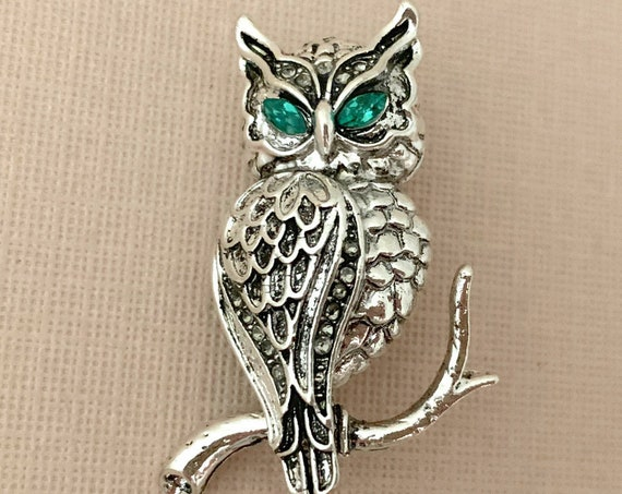 Antique Silver Owl Brooch Pin