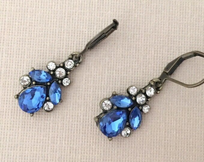 Cobalt Blue Rhinestone Dangle Earrings