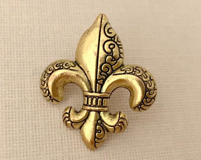 Gold Fleur de Lis Lapel Pin (clutch pin)