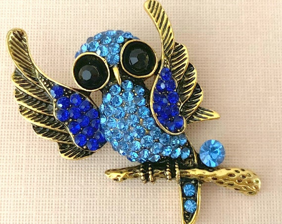 Antique Gold & Blue Owl Brooch Pin