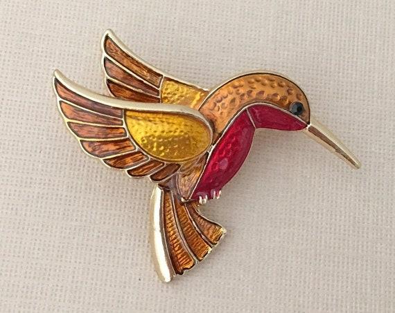 Brown Enamel Hummingbird Brooch Pin