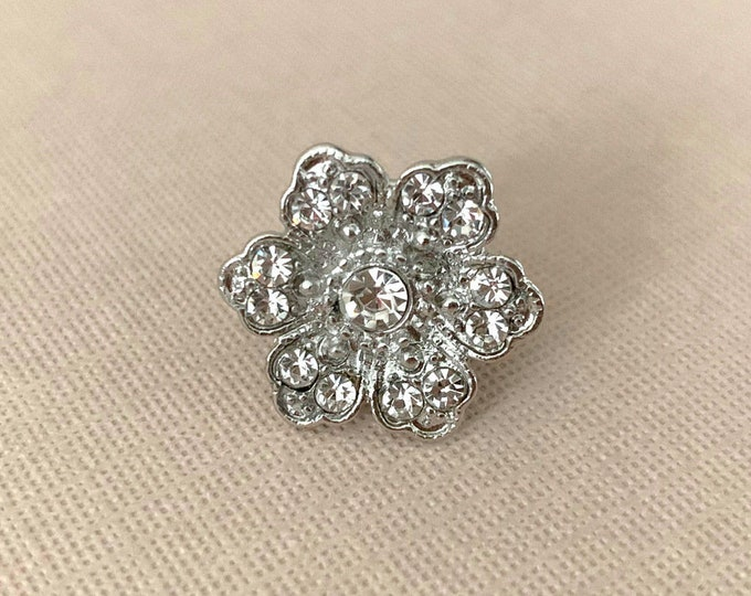 Silver Rhinestone Flower Lapel Pin or Tie Tack (clutch pin)