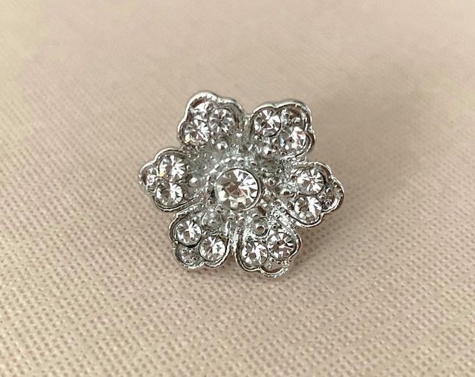 Silver Rhinestone Flower Lapel Pin or Tie Tack