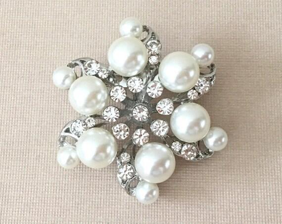 Pearl & Rhinestone Wedding Brooch