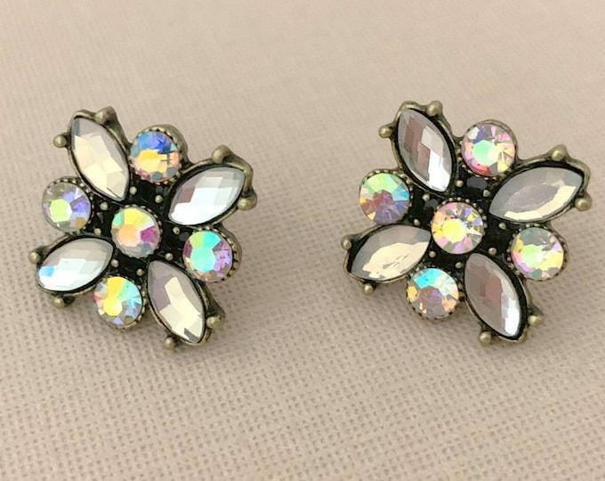 Gold Aurora Borealis Stud Earrings