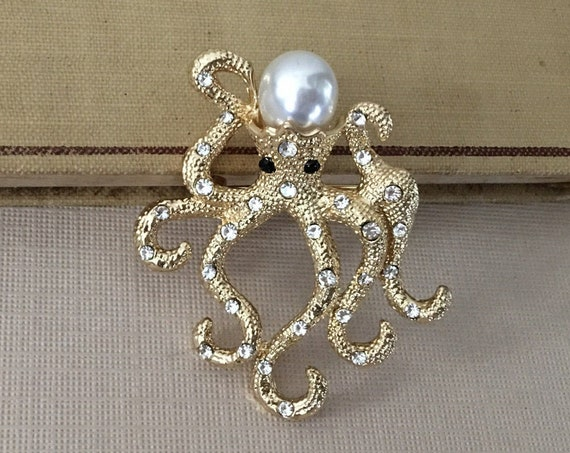 Gold Octopus Brooch Pin and Pendant