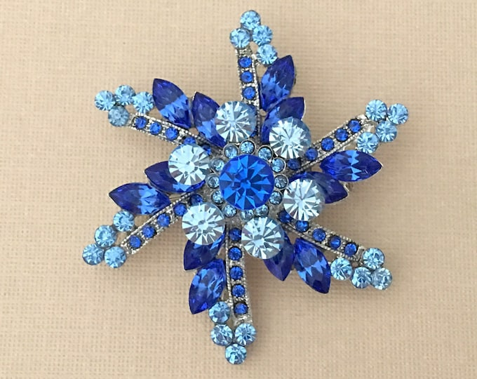 Blue Starburst Rhinestone Pin and Brooch