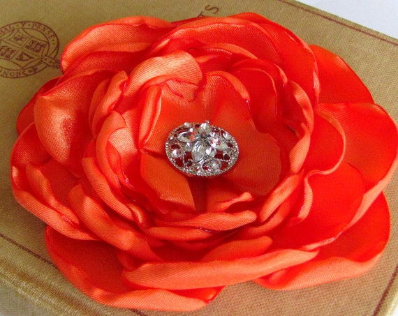 Orange Satin Flower Brooch Pin or Hair Clip.Choose your size and button/bead finish.