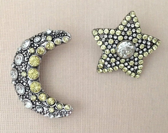 Large Moon and Star Silver Color Earrings