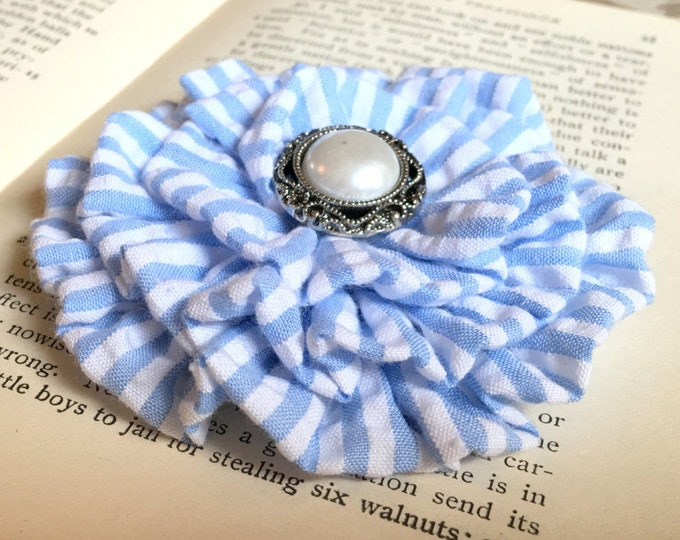 Blue & White Seersucker Flower Hair Clip and/or Brooch Pin. Choose your button/bead finish. Handmade.