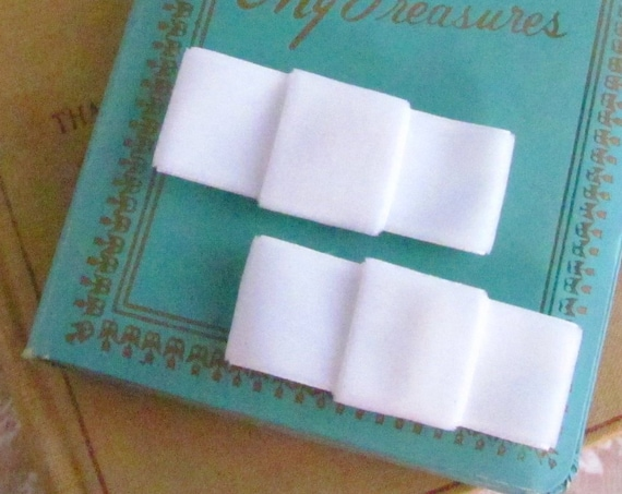 White Velvet Bow Hair Clips Set. CLEARANCE SALE