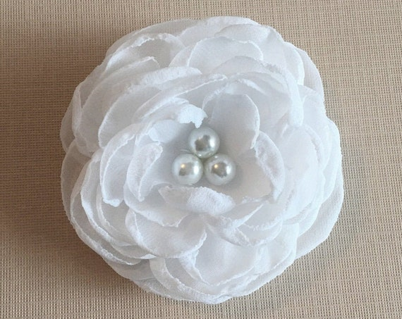 White Chiffon Flower Hair Clip and/or Brooch Pin. Choose your size and button/bead finish. Handmade.