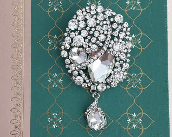 Large Rhinestone & Platinum Brooch Pin