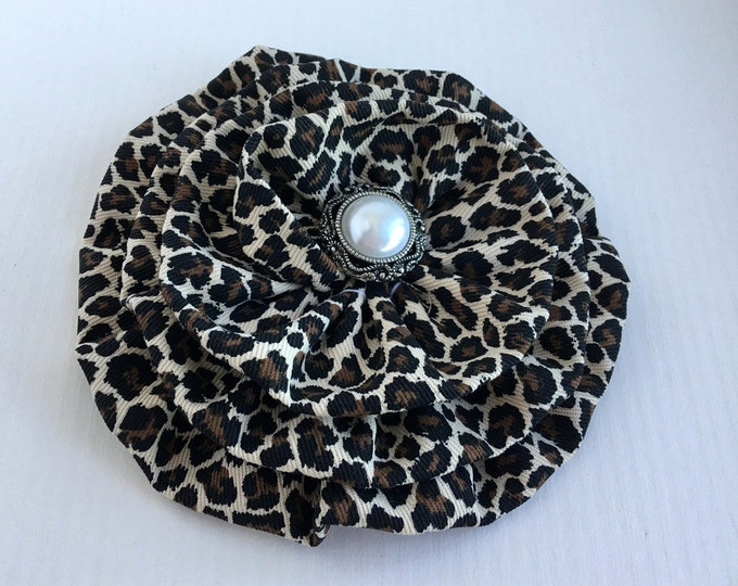Leopard Fabric Flower Brooch Pin and or Hair Clip. Choose your button finish. Handmade.