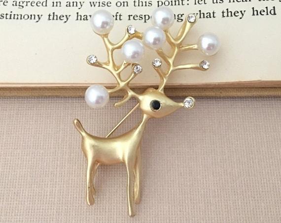 Gold Reindeer Brooch Pin
