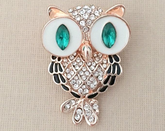 ROSE GOLD Owl Pin.Rose Gold Green Owl Brooch.Green Owl Brooch.Owl Rhinestone Brooch.Owl Crystal Brooch.Rose Gold Brooches.Autumn Brooch