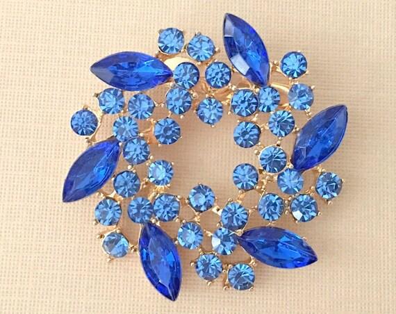 Royal Blue & Gold Wreath Brooch Pin. SLIGHT SECONDS ITEM*