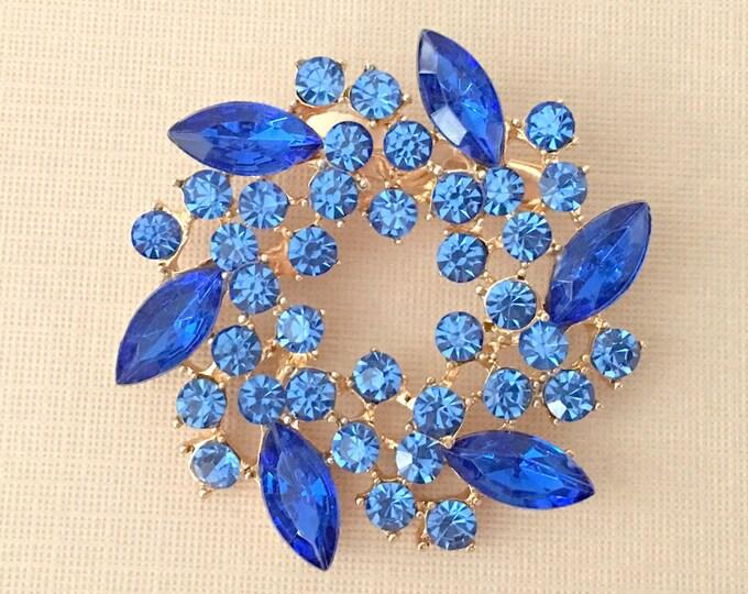 Royal Blue Rhinestone Wreath Brooch Pin