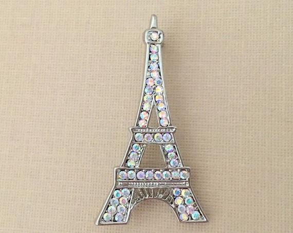 Aurora Borealis Eiffel Tower Rhinestone Brooch Pin