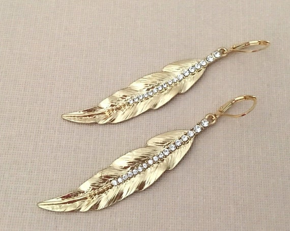 Gold & Rhinestone Feather Earrings