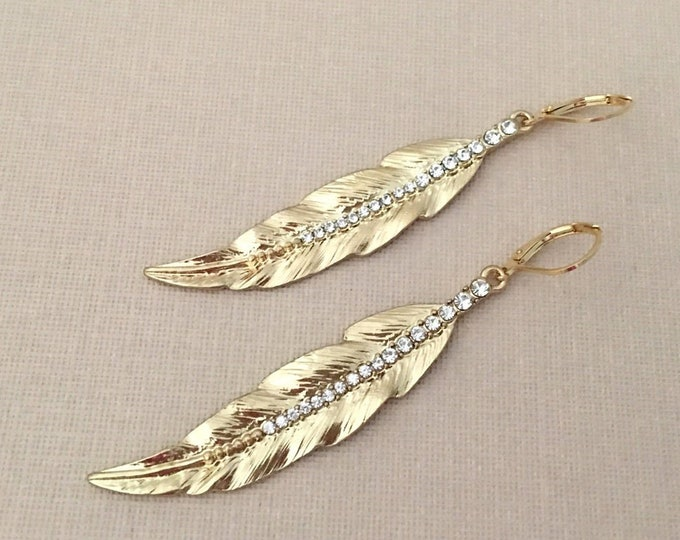 Gold & Rhinestone Feather Earrings