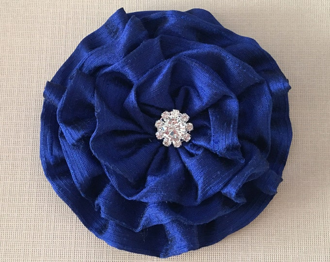 Sapphire Blue Flower Brooch Pin and/or Hair Clip. Choose your button/bead finish. Handmade.