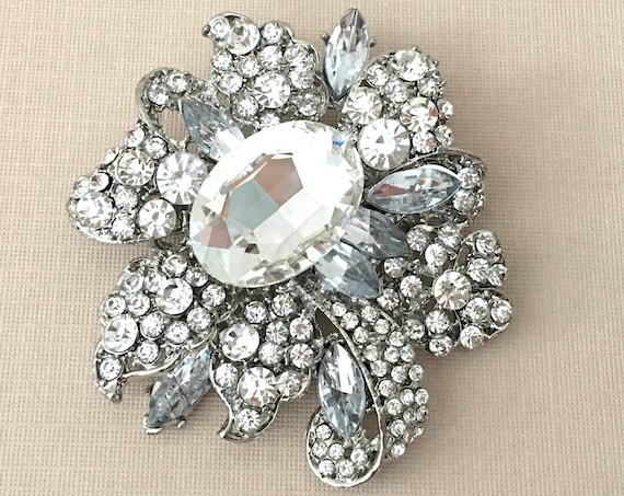 Large Rhinestone Brooch Pin
