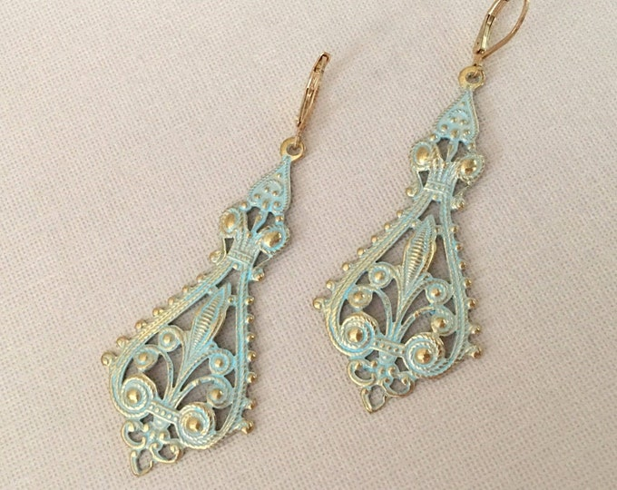 Gold & Green Filigree Dangle Earrings