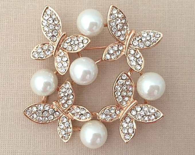 Rose Gold & Pearl Butterfly Brooch Pin. SLIGHT SECONDS JEWELRY*.