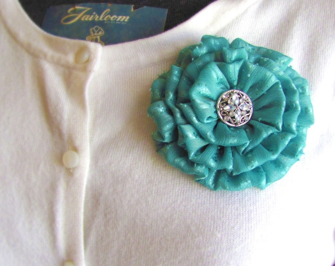 Jade Green Fabric Flower Hair Clip and/or Brooch Pin. Choose button/bead finish. Handmade.