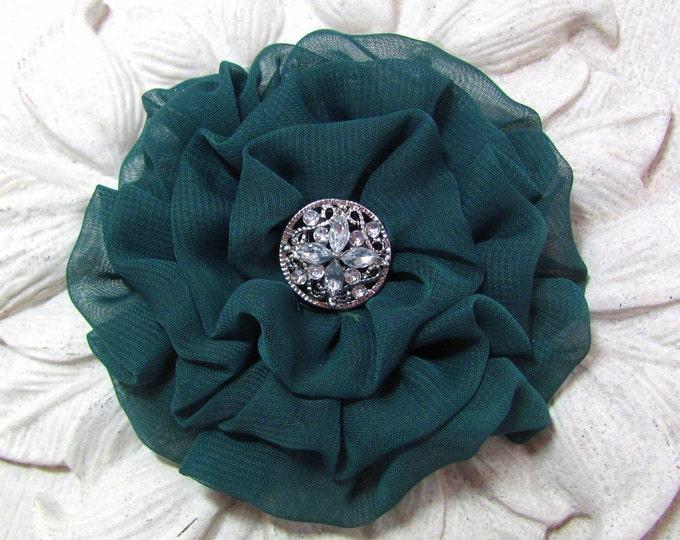Cedar Green Fabric Flower Hair Clip and/or Brooch Pin. Choose button/bead finish. Handmade.