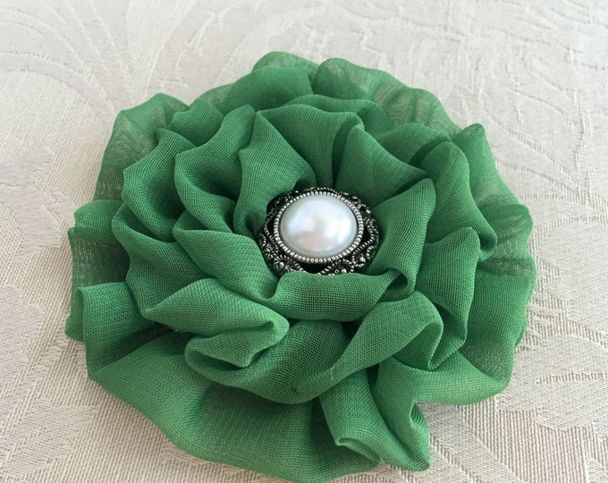 Moss Green Flower Brooch Pin and/or Hair Clip. Choose your button/bead finish. Handmade.