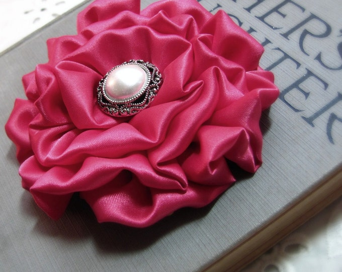 Fuchsia Pink Flower Hair Clip and/or Brooch Pin. Choose button/bead finish. Handmade.