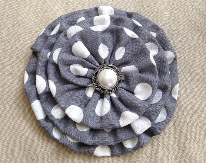 Gray & White Fabric Flower Brooch Pin and/or Hair Clip. Handmade.
