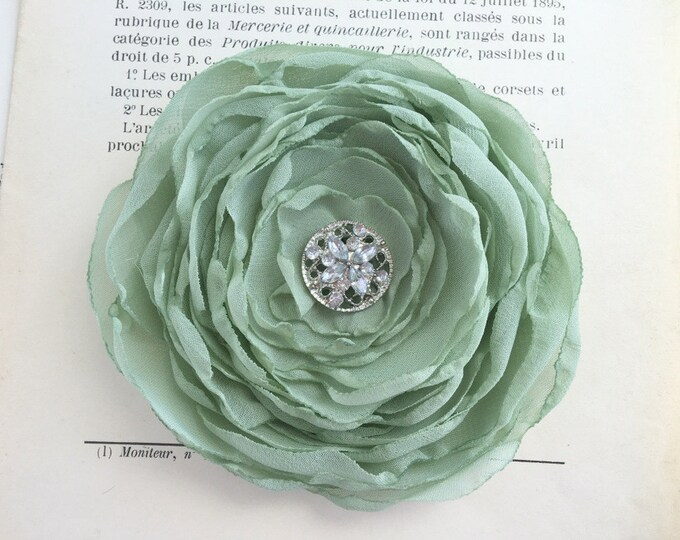 Sage green Chiffon Fabric Flower Hair Clip or Brooch/Pin. Choose your button/bead finish. Handmade.