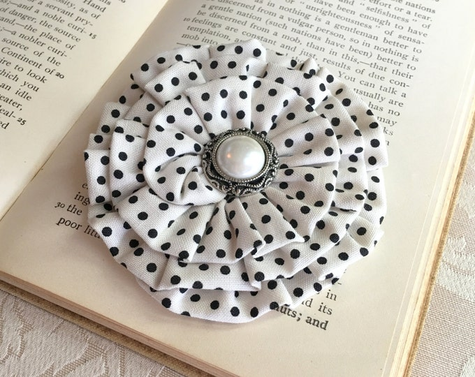 Ivory & Black Polka Dot Fabric Flower Hair Clip and Brooch Pin. READY TO SHIP. Handmade.