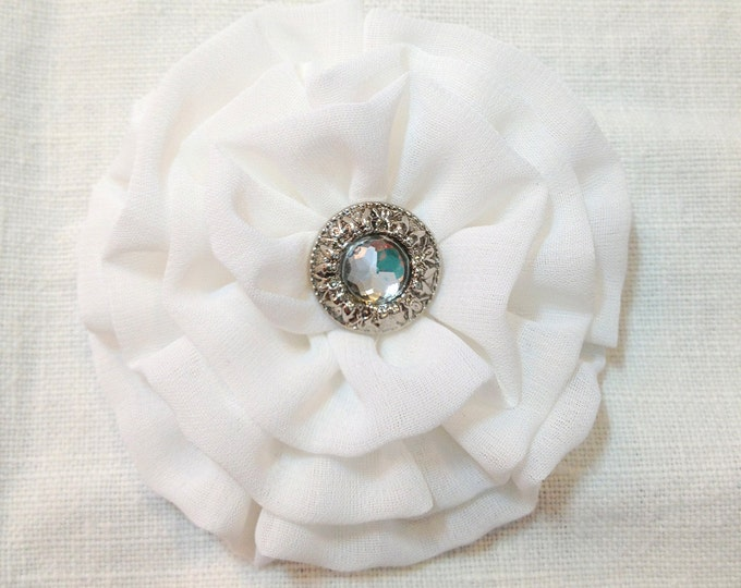 Small White Fabric Flower Hair Clip, Brooch Pin, or Hair Pin. Choose your button finish. Handmade.