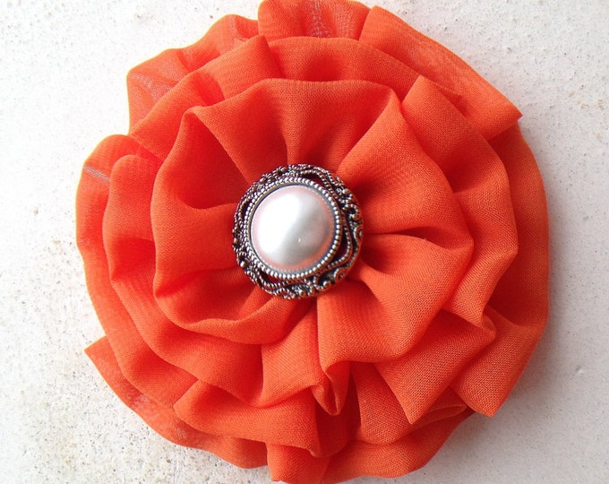Orange Fabric Flower Hair Clip or Brooch Pin. Choose your button/bead finish. Handmade.