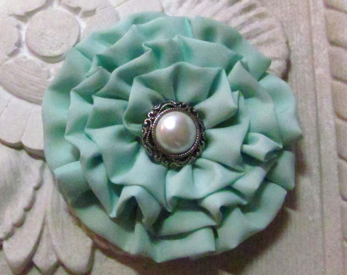 Mint Green Flower Hair Clip and/or Brooch Pin. Choose your button/bead finish. Handmade.
