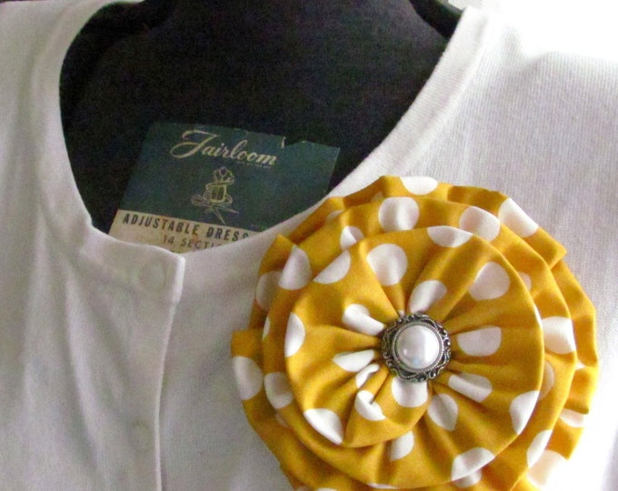 Mustard Yellow Fabric Flower Brooch Pin and/or Hair Clip. Choose your button/bead finish. Handmade.