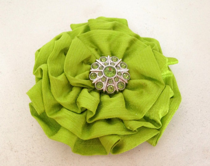 Pistachio Green Fabric Flower Hair Clip and Brooch Pin. READY TO SHIP. Handmade.