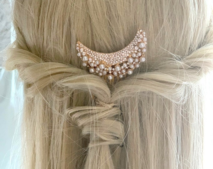 Gold Moon Pearl & Rhinestone Hair Comb