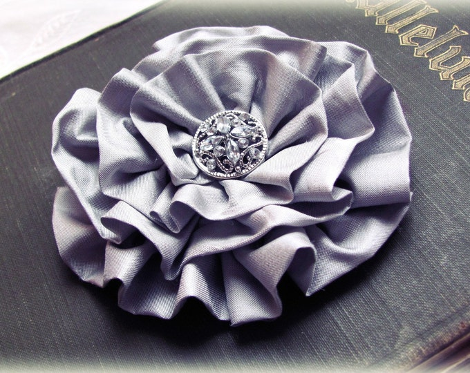 Gray Fabric Flower Hair Clip or Brooch Pin. Choose your button/bead finish. Handmade.