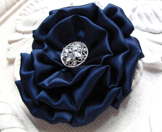 Navy Blue Fabric Flower Brooch Pin and/or Hair Clip. Choose your button/bead finish. Handmade.