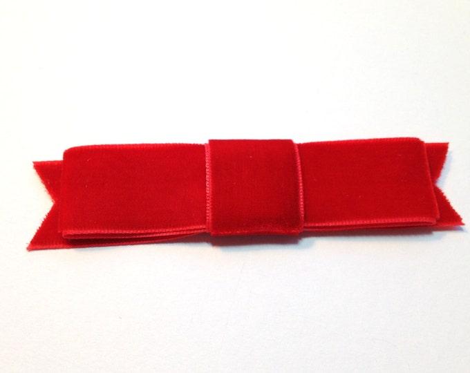 Red Velvet Ribbon Bow Hair Clip. Handmade.