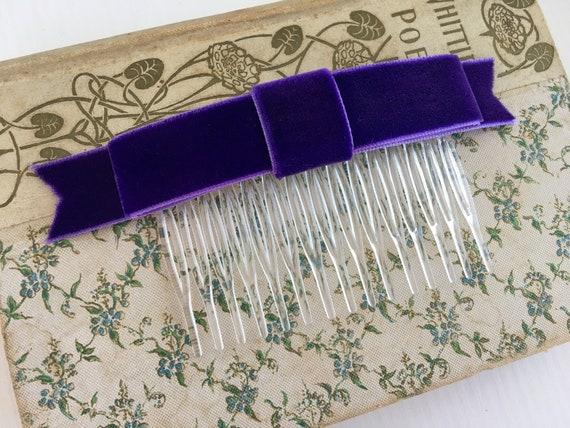 Purple Velvet Ribbon Bow Hair Comb. Handmade.