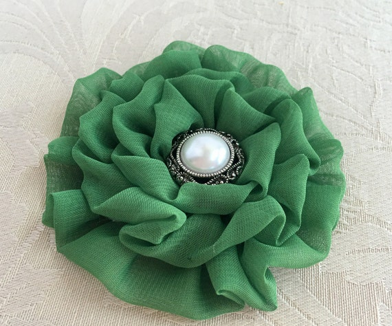 Moss Green Fabric Flower Hair Clip and/or Brooch Pin. Choose your button/bead finish. Handmade.
